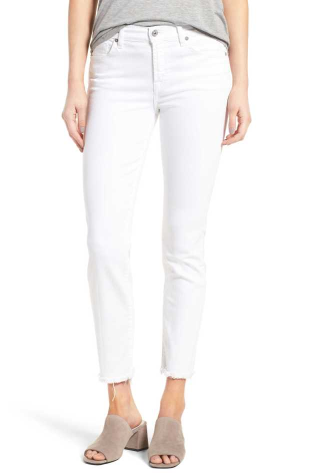 white 7 straight fit jeans